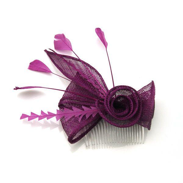 Purple Sinamay Feather Mesh Flower Headpiece Fascinators Hair Comb #Unbranded