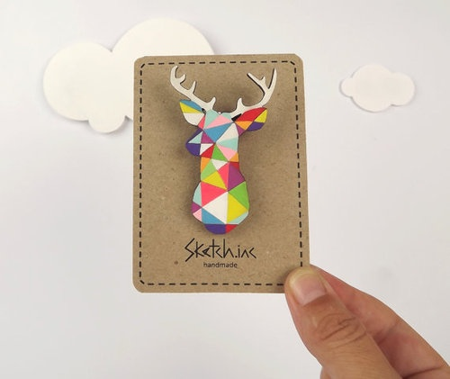 Style: Let's Shop Etsy For Brooches!  (via Geometric Deer Brooch Neon 'Stag Head' by SketchInc on Etsy)
