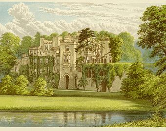 """Matted Great Britain Estate Print C. 1866  F.O. Morris Engraving County Seats  Guy's Cliff Warwickshire England 10x12"""""""