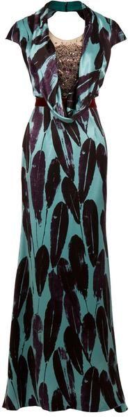 Carolina Herrera   Feather Print Gown     dressmesweetiedarling