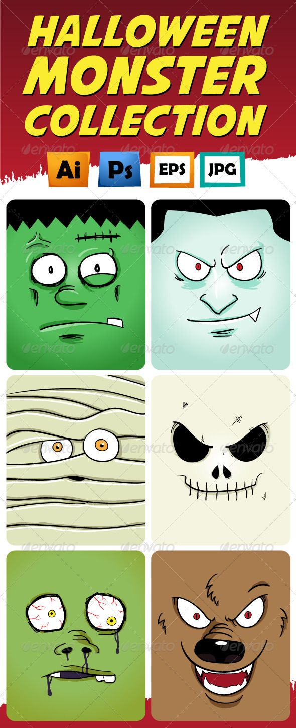 Monster Face Collection  #GraphicRiver         Collection of 6 popular halloween creature. All objects are on separated layer and neatly named. Download pack in