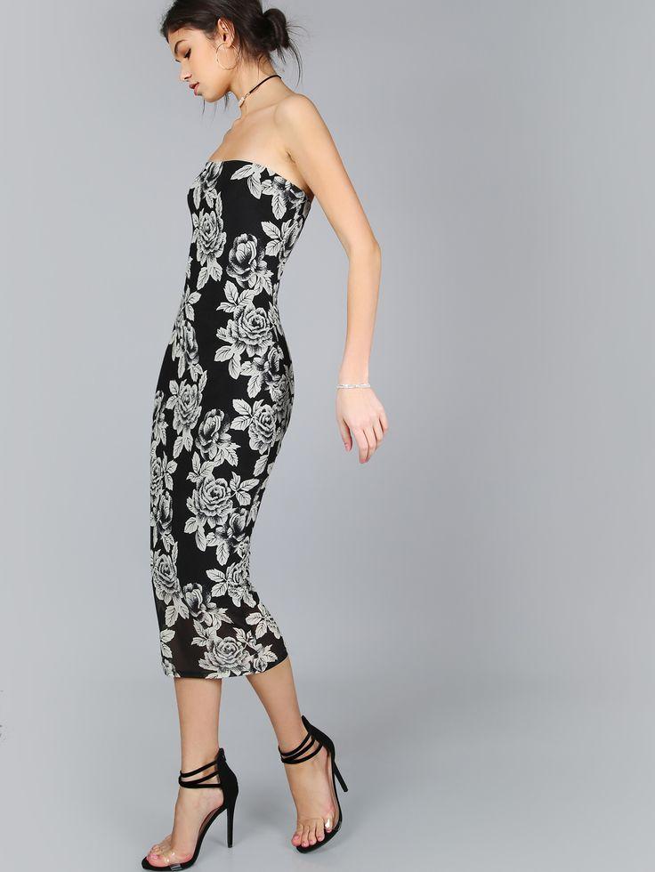 Vestido bandeau con estampado de flor-(Sheinside)
