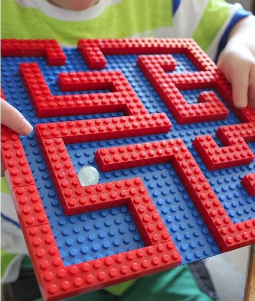 Photo of a red and blue lego maze