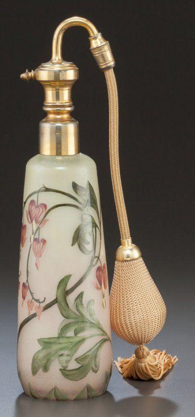MULLER FRES ENAMELED GLASS FLORAL PERFUME ATOMIZER - ENAMELED: MULLER FRES, LUNEVILLE C.1925