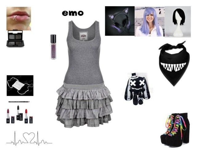 emo girl style .4. by mayleneholm on Polyvore featuring Superdry, NARS Cosmetics and Clair Beauty