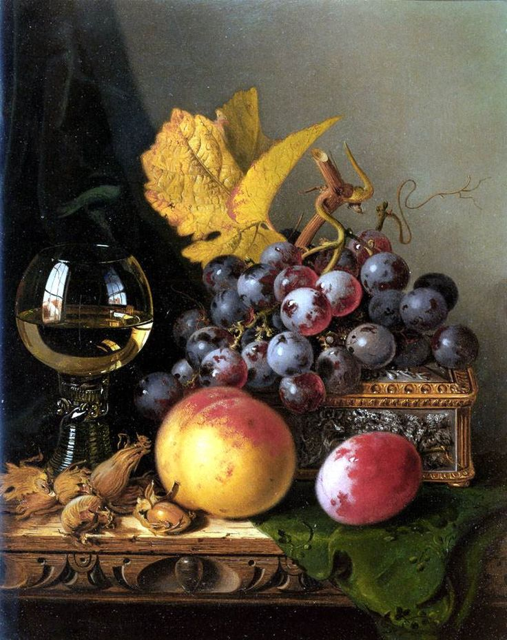 levkonoe | Edward Ladell. A Still Life Of Black Grapes