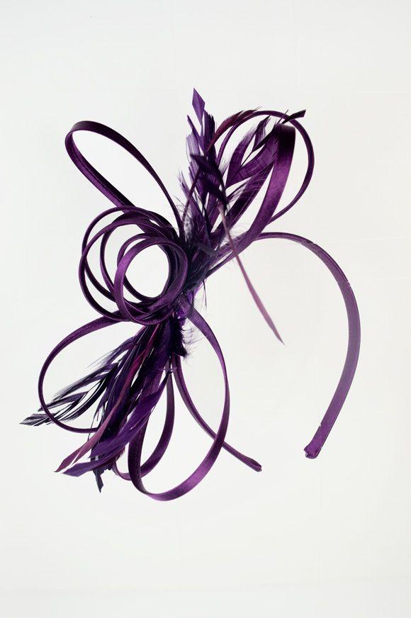 Satin Ribbon Loop & Feather Hairband Fascinator in Aubergine Purple