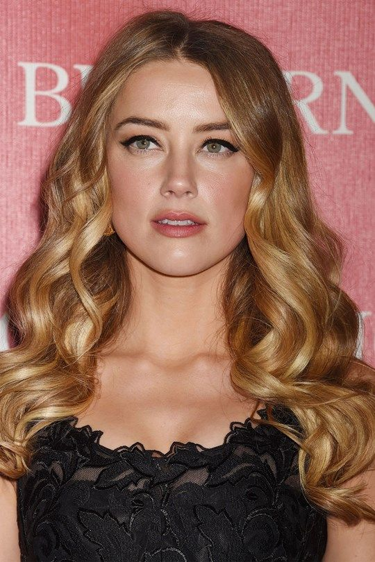 Red carpet hairstyle. Glam curls -Amber Heard. Celebrity hairstyle