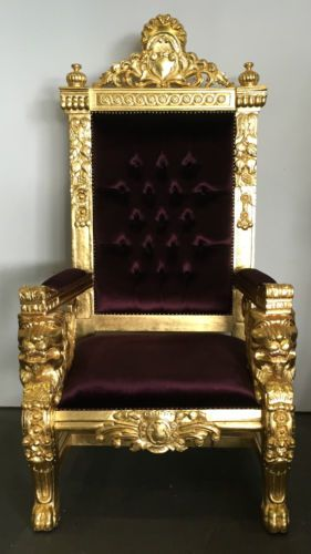 Purple gold hollywood regency large lion head king chair gothic queen throne