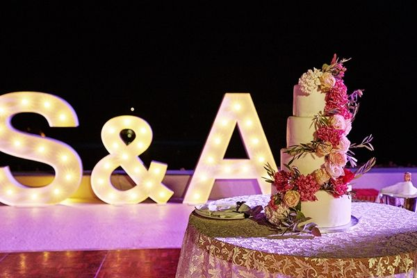 Wedding Initials, wedding cake decor. | Greek island destination wedding, Mykonos