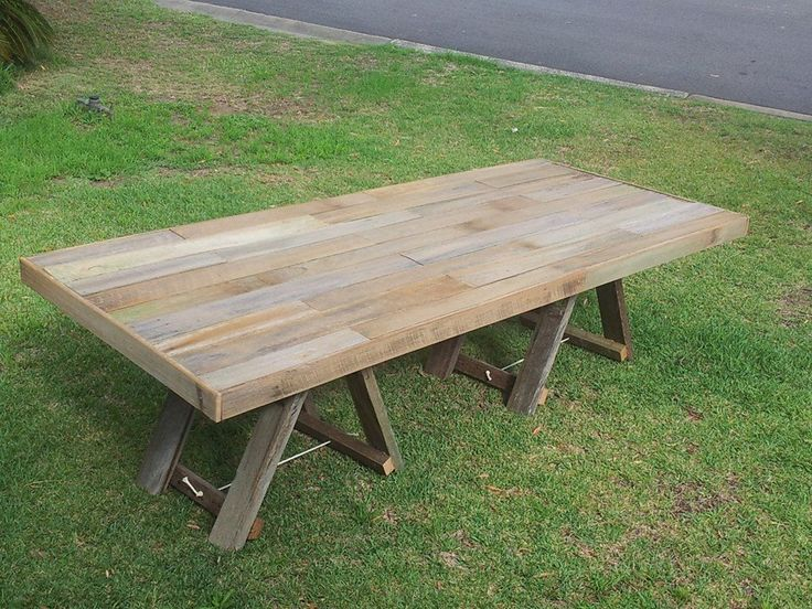 Large fence timber rustic trestle dining table.