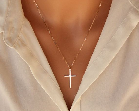 Elegant Cross necklace 14K gold filled long large by MoonandI