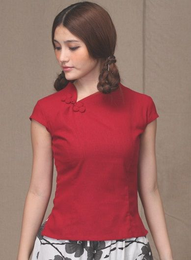 Traditional Chinese Cheongsam Top V Collar $59.99 (45,20 €)