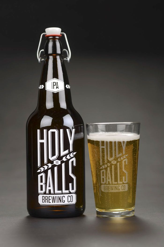 Classic styling with a silly name. Too bad saying the name of your beer isn't always this fun. Holy Balls Brewing Co. Found on The Dieline