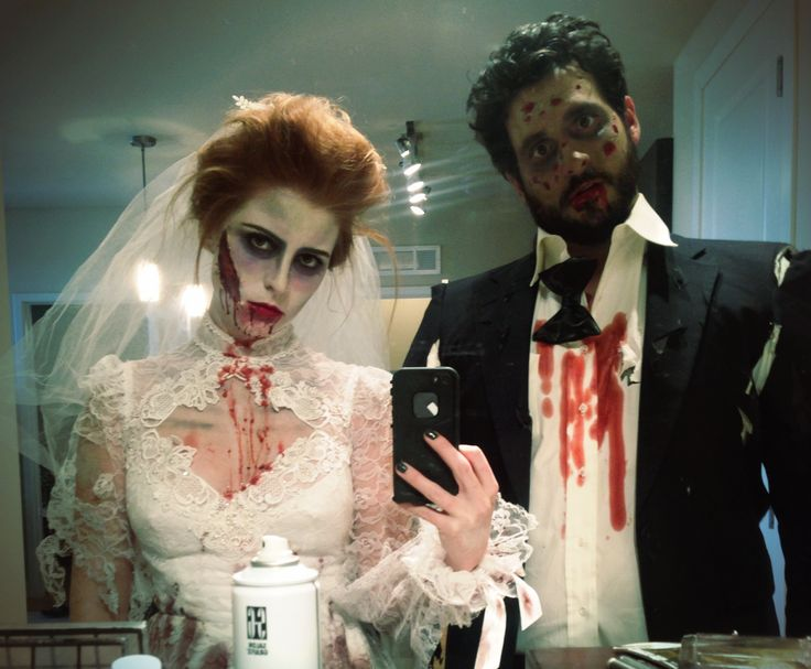 My husband and I as zombie bride and groom, Halloween!!