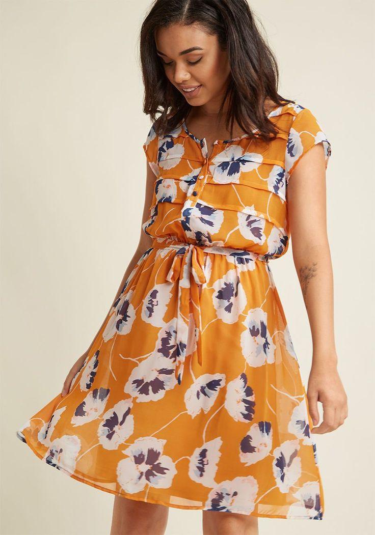 A-Line Chiffon Shirt Dress in Goldenrod Bloom | ModCloth