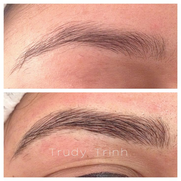 Semi-permanent eyebrow tattoo...hairstrokes added to existing brows for more fullness and definition.