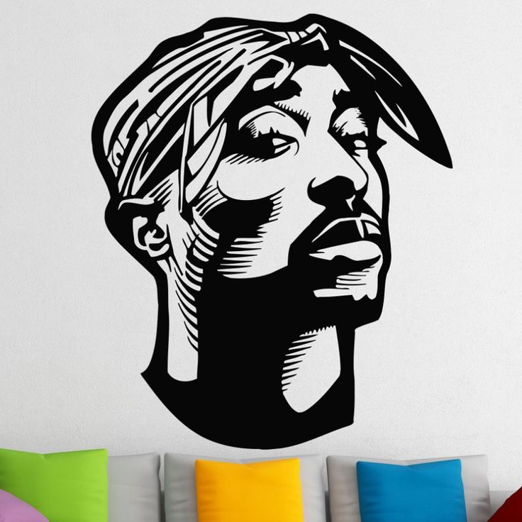 Hip Hop Tupac Shakur Wall Stickers For Kids Boys Rooms 2PAC Vinyl Wall Decals Living Room Home Decor Muursticker Wall Art A294