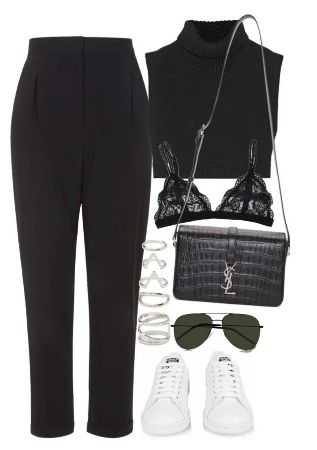 """""""Untitled #1111"""" by oh-its-anna ❤ liked on Polyvore featuring adidas, Topshop, Victoria Beckham, Forever 21 and Yves Saint Laurent"""