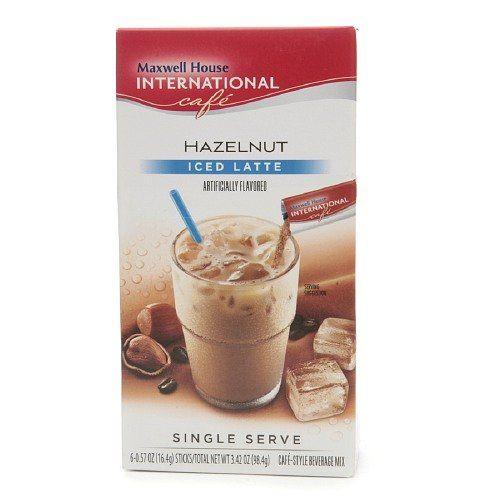 Maxwell House International Cafe Iced Latte Cafe-Style Beverage Mix, Single Serve Packets, Hazelnut, 6 pk 0.57 oz *** For more information, visit image link.