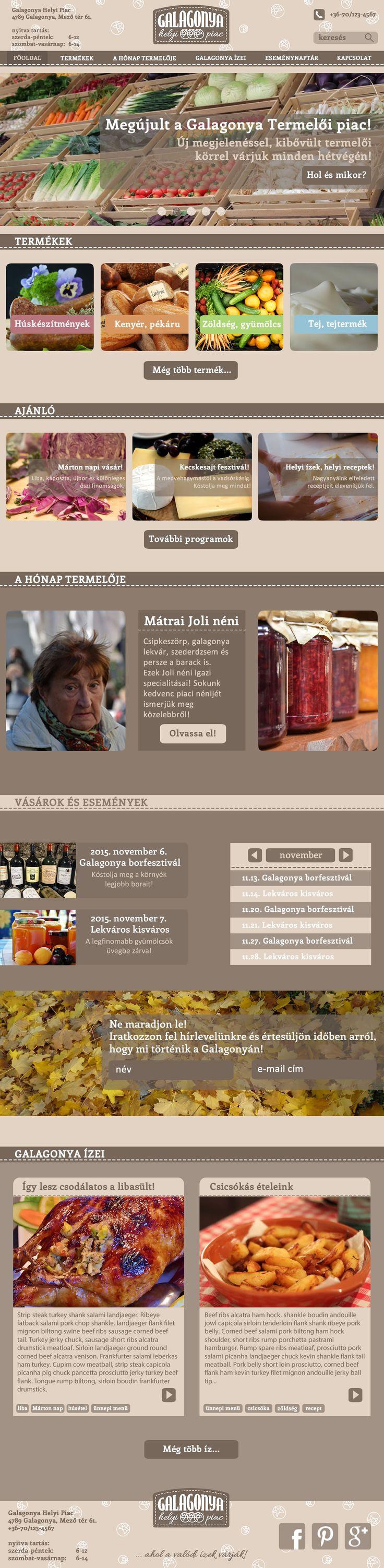 Dörnyei Barbara munkája - Galagonya Helyi piac gyakorlat 3. kör - Responsive webdesign - Desktop nézet ------------------------------------- Tanuld meg Te is! http://www.webdesigntanfolyam.com