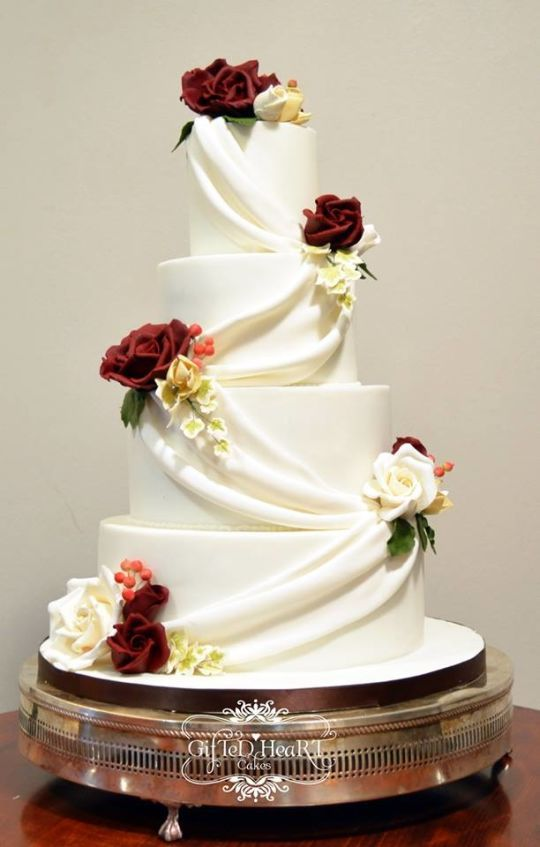 Swags And Roses Wedding Cake White 4 Tier With Sugarpaste Gumpaste