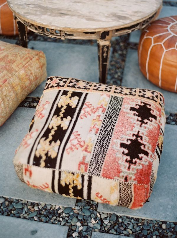 In southwestern design, there are simple furniture items. Some of those are as simple as large pillows for seating, which give a calm element to rooms and areas.