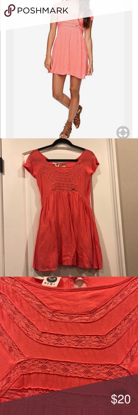 Roxy coral dress size xs Good used condition Roxy coral dress size xs. Pics look orange, but it's actually more coral! Dress has pockets and is very comfortable and cute. Little stain from foundation on the front side under the logo (shown in pics) also a little threading coming undone on the left side of the dress (also shown in pics) overall really cute and one of my favorite dresses! Too bad I can't fit anymore. Send me an offer! Roxy Dresses Mini