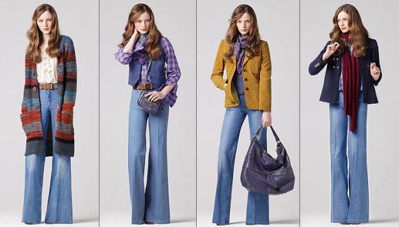 Вопрос 6. Мода 70-х годов. Хиппи-стиль. Клёши, длинный вязаный кардиган (должен стройнить!), жакет, платок на шее, большая сумка