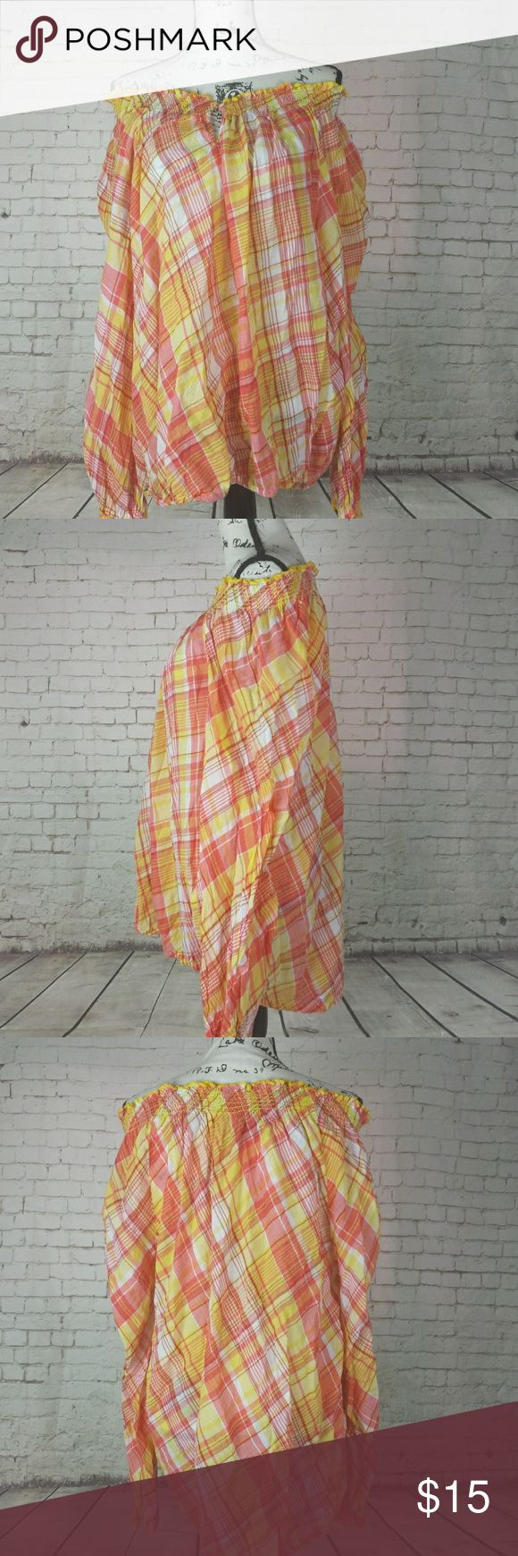 "Lane Bryant Size 26/28 Semi Sheer Orange Plaid Top Lane Bryant Size 26/28 Semi Sheer Orange Yellow Plaid Long Sleeve Smocked Top off Shoulder Blouse  New without tags.  Label black lined to prevent store returns  Approximate measurements taken flat double when applicable  Chest 32"" Length 30"" Lane Bryant Tops Blouses"