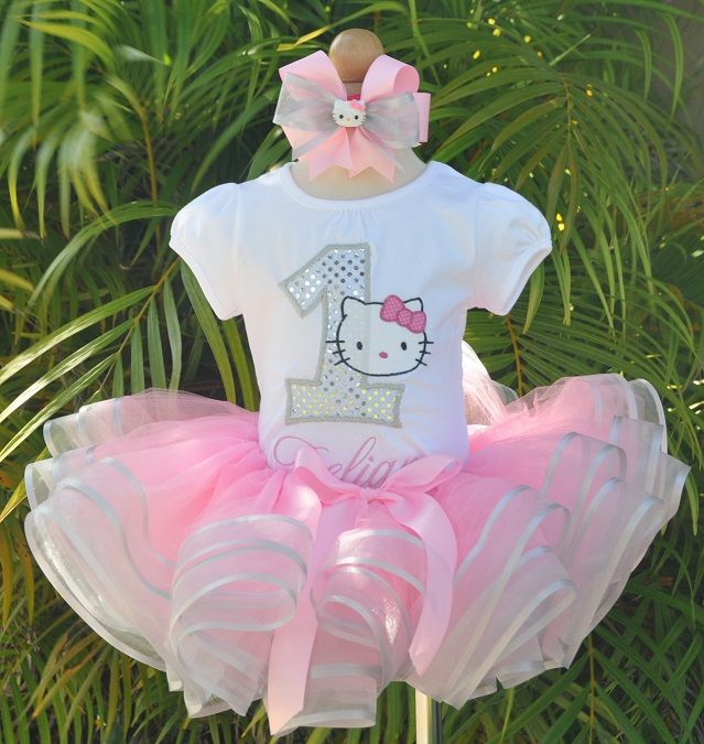 Pink and Silver Double Ribbon Hello Kitty Party Tutu Set-baby birthday tutu sets, girls birthday tutu sets, babys  pirate costume, pirate tutu set