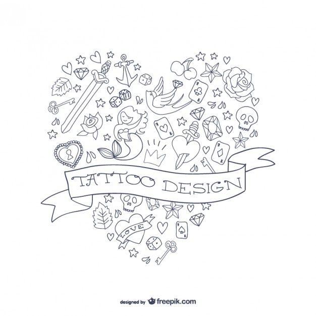Forme vecteur de coeur de conception de tatouage
