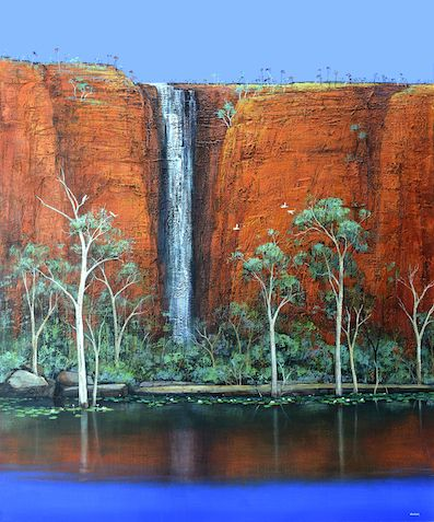 © Ingrid Windram 2014<br />Kimberley Waterfall and the Paperbarks<br>Acrylic on canvas<br>120 x 100 cm<br>$16000 | Available