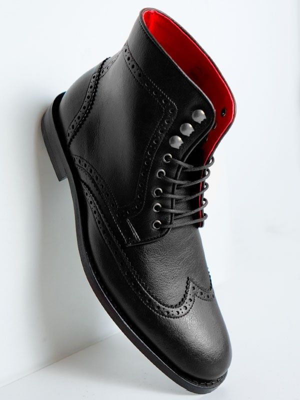 Vegan Vegetarian Non-Leather Mens Dark Black Brogue Boots