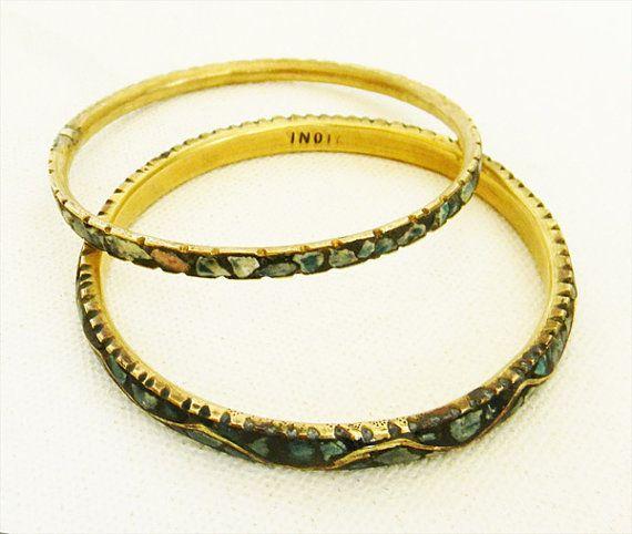 India britannica di antiquariato braccialetto turchese coppia