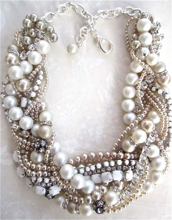 milk glass and rhinestone necklace   we ❤ this!  moncheribridals.com  #weddingstatementnecklace #weddingnecklace #weddingjewelry