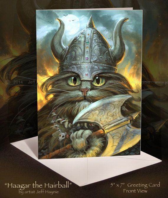 VIKING, Viking Cat Card, Cat Stationary // Viking Art Wall Hanging // Viking Card // Cat Poster Art Print // Viking Cat on Etsy, $5.00