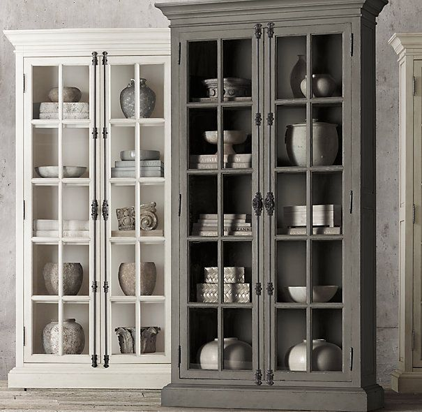 Restoration Hardware...French Casement Double Door Cabinet In Distressed  Grey
