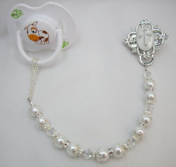 Baptism Gift ,  Pacifier Clip, Baby christening gift, cross,goddaughter or godson white and very blingy silver accents (CCRS) on Etsy, $29.99