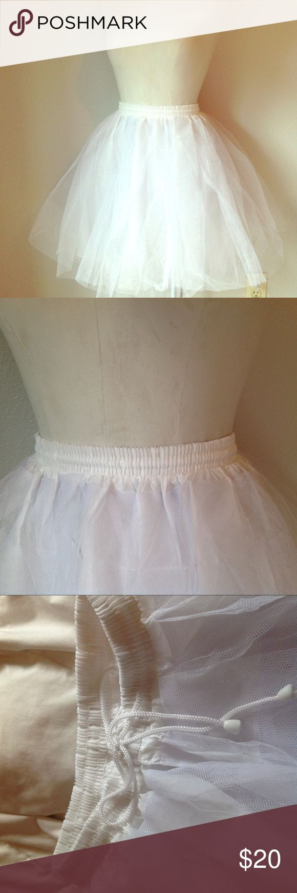"""👗 TULLE KNEE LENGTH PETTICOAT SKIRT SLIP 👗 👗 Fun, fun, fun this is a great piece for under cocktail dresses, swing skirts, costumes or just by itself, measures 20"""" long including elastic waistband, which has a drawstring and can stretch to about 38"""", all measurements approximate, 3 layers of tulle plus one liner layer,  new without tags Skirts"""