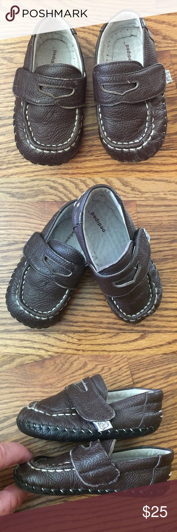 Pediped shoes...Size 12-18 Adorable shoes by Pediped with Velcro opening for easy on and off...chocolate brown with soft sole...Size 12-18 months...excellent condition from a smoke free home! pediped Shoes
