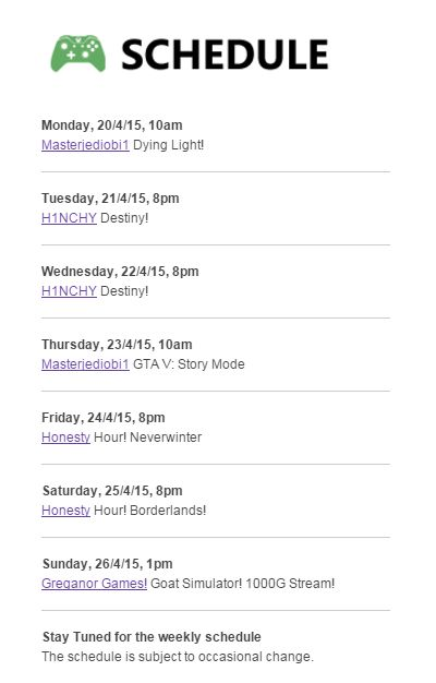Schedule 20.4.15