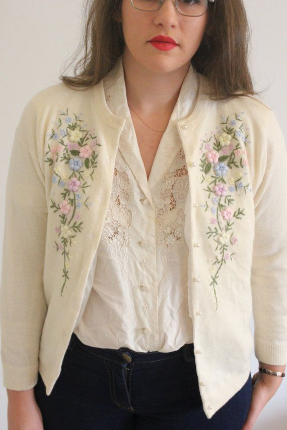Vintage 60s Pastel Floral Cream Embroidered Cardigan With Pearl Buttons