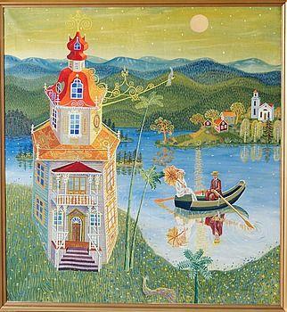 Mårten Andersson: Månsken över slottet, 1963, 112x104 cm - Bukowskis