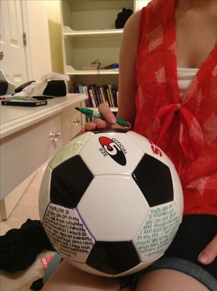 Great birthday present for soccer people. Gather brief messages to the birthday person and write them in the white hexagons of the soccer ball in sharpie.