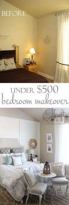 Master bedroom makeover for under 500 great diy ideas h o m e pinterest bedroom Diy master bedroom makeover