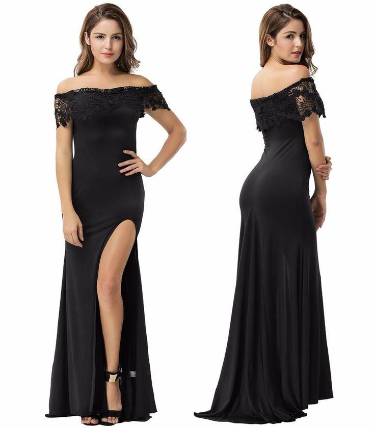 Plus Size Elegant Classy Black Off Shoulder Crotchet Formal Wedding Party Dress  | eBay