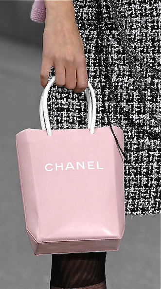 Chanel pink leather tote