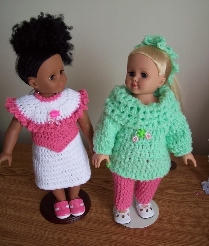 Free crochet pattern for American Girl or 18 doll.