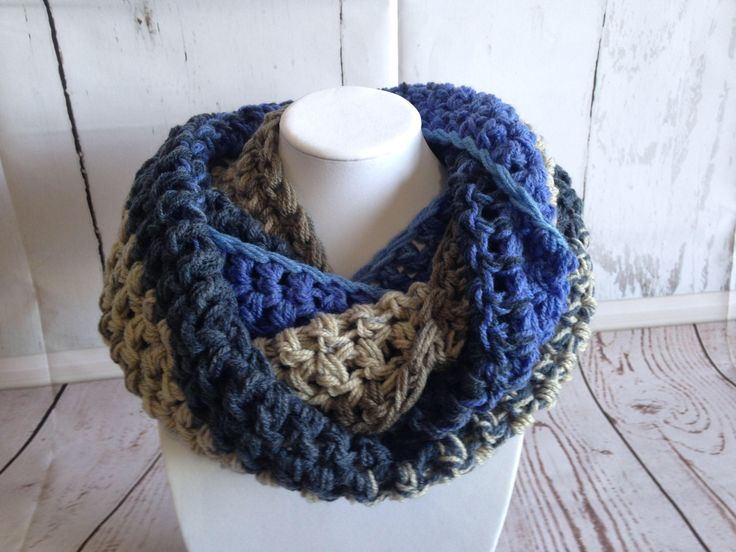 Infinity Scarf - Cowl Scarf - Cowl Neck - Scarf - Crochet Scarf - Blue Scarf - Womens Cowl - Womens Scarves - Crochet Infinity Scarf - Adult by StephsFamilyStitches on Etsy https://www.etsy.com/ca/listing/505595196/infinity-scarf-cowl-scarf-cowl-neck